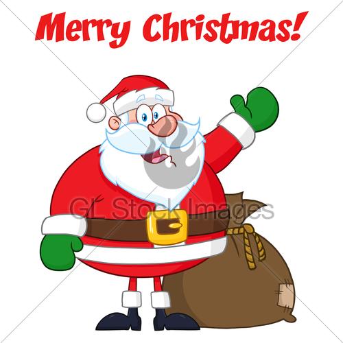 500x500 Happy Santa Claus Cartoon Mascot Character Waving Hand Dr Gl