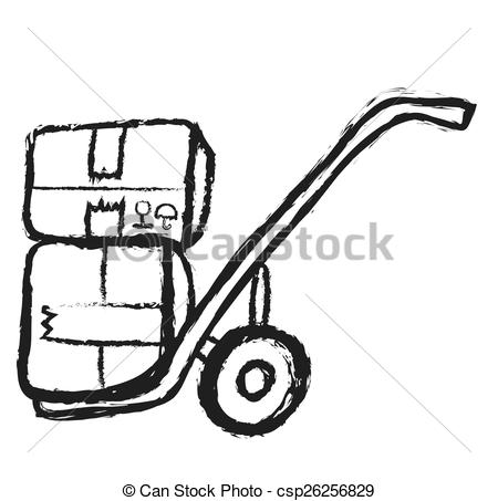 450x453 Doodle Metal Hand Truck With Corrugated Cardboard Package Clip