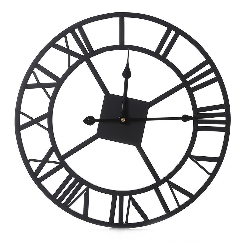 1000x1000 Retro Oversize Iron Wall Clock Round Metal Silent Wall