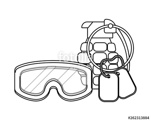 500x400 Military Goggles With Grenade And Dog Tag Plate Black And White