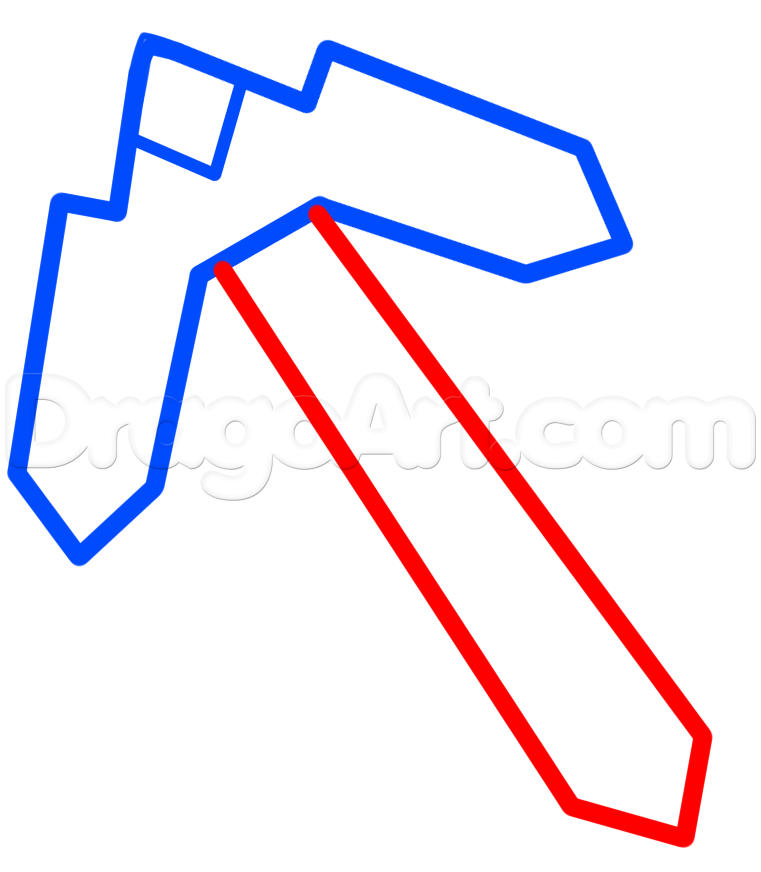 761x872 How To Draw The Minecraft Pick, Step