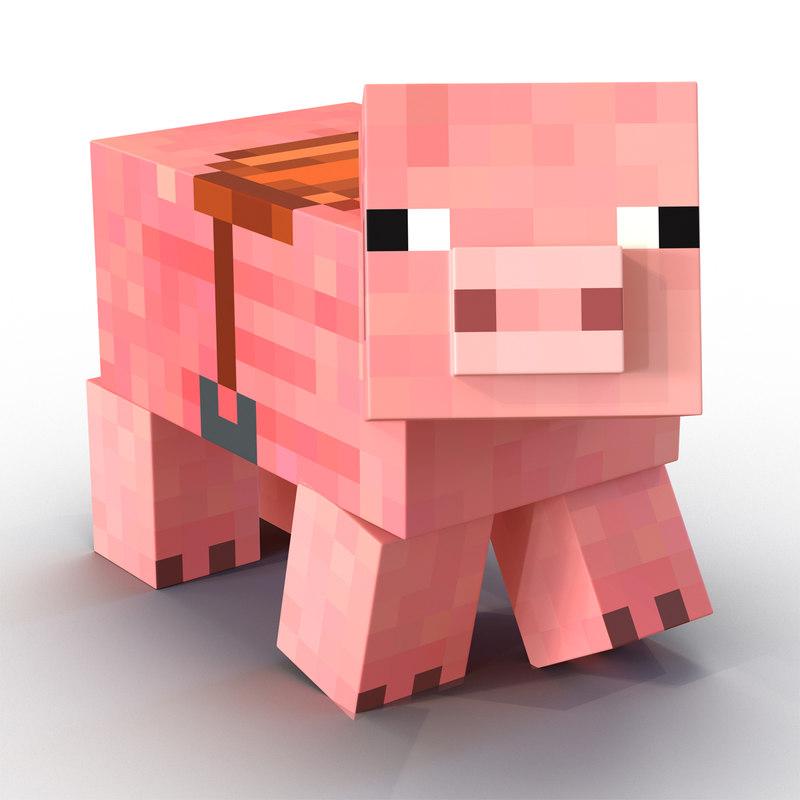 800x800 Minecraft Pig Saddle Rigged Max