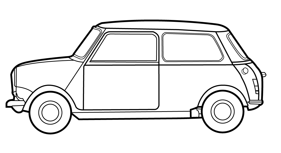 1184x644 mini line diagram, classic mini, side