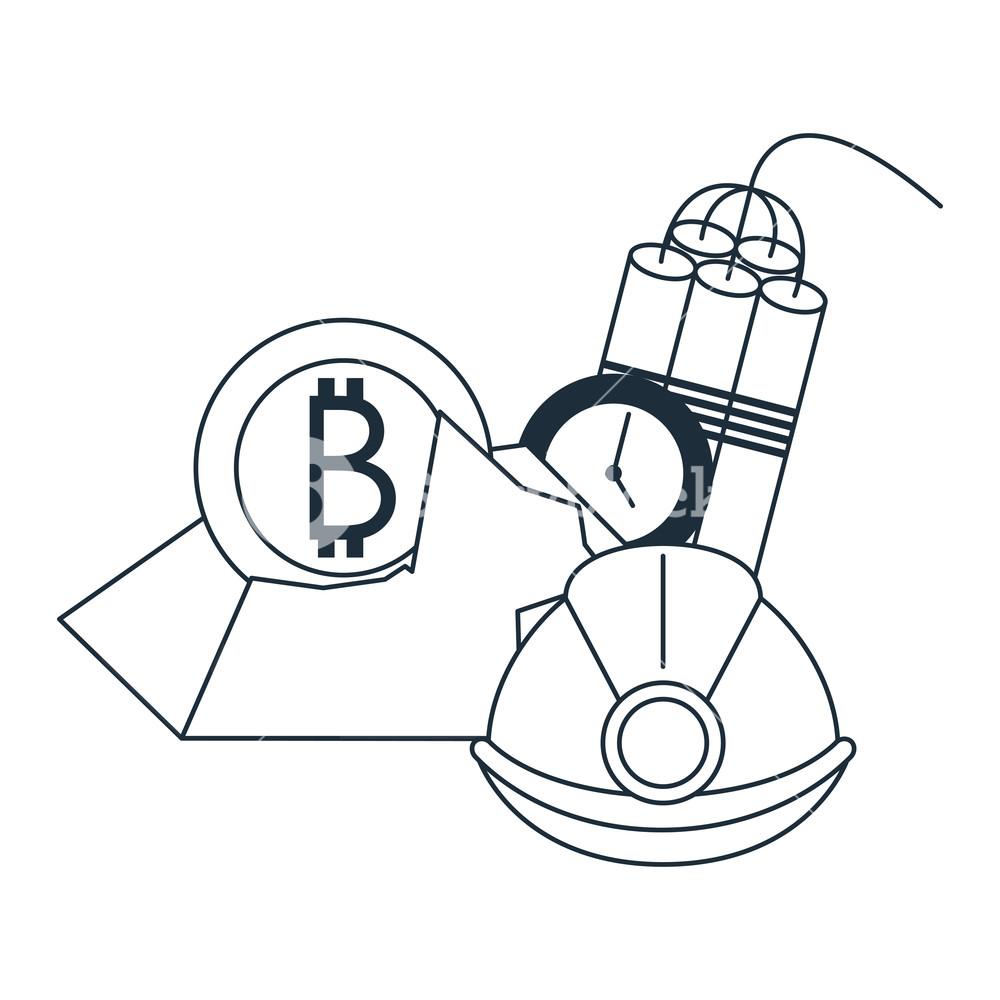 1000x1000 Bitcoin Mining With Helmet And Tnt In Black And White Vector
