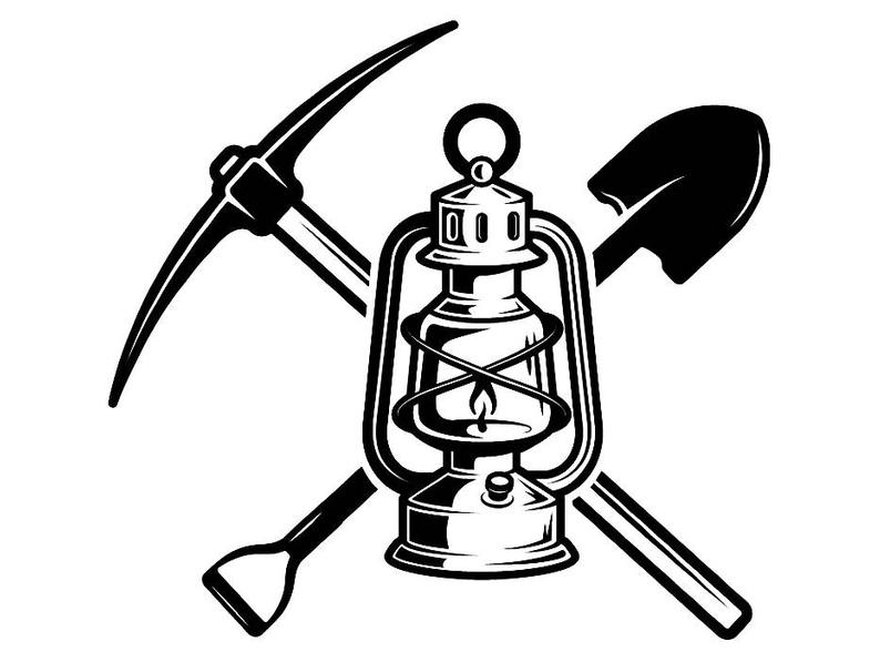 794x597 Mining Logo Pick Axe Shovel Tool Lantern Construction Etsy