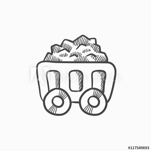 500x500 Mining Coal Cart Sketch Icon