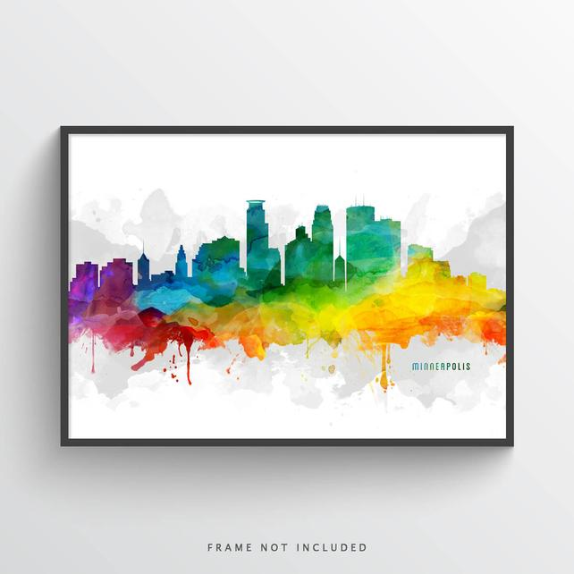 642x642 Minneapolis Minnesota Skyline Poster Minneapolis Art Etsy