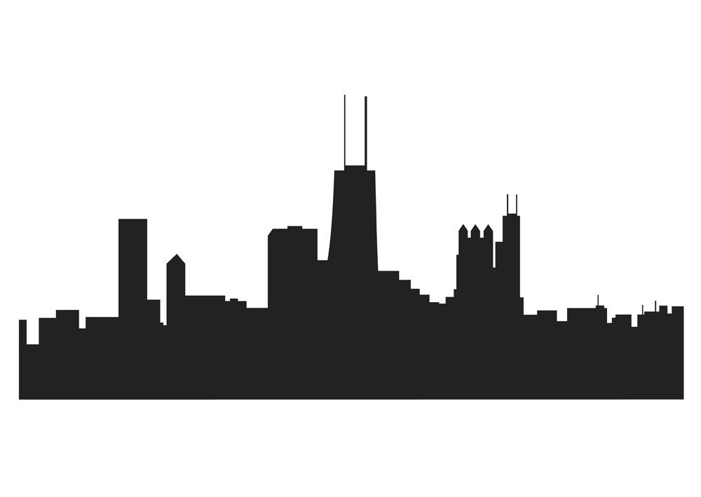 1000x709 Chicago Skyline Drawing