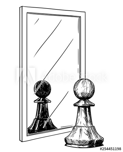 404x500 Cartoon Drawing And Conceptual Illustration Of White Chess Pawn