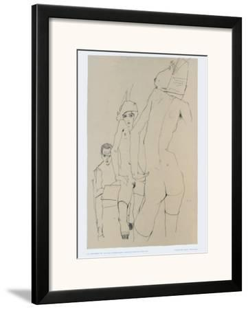 361x450 Schiele Drawing A Model In Front Of A Mirror, Framed Art Print