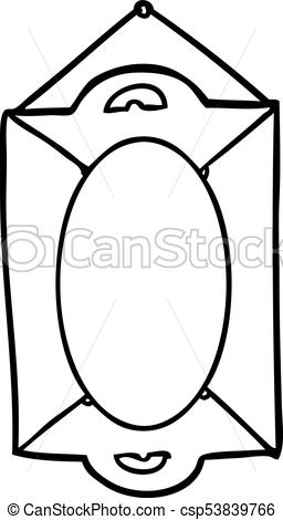 256x470 Line Drawing Of A Framed Old Mirror