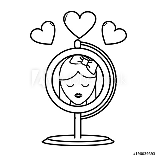 500x500 Line Mirror Object Reflecting Woman With Hearts