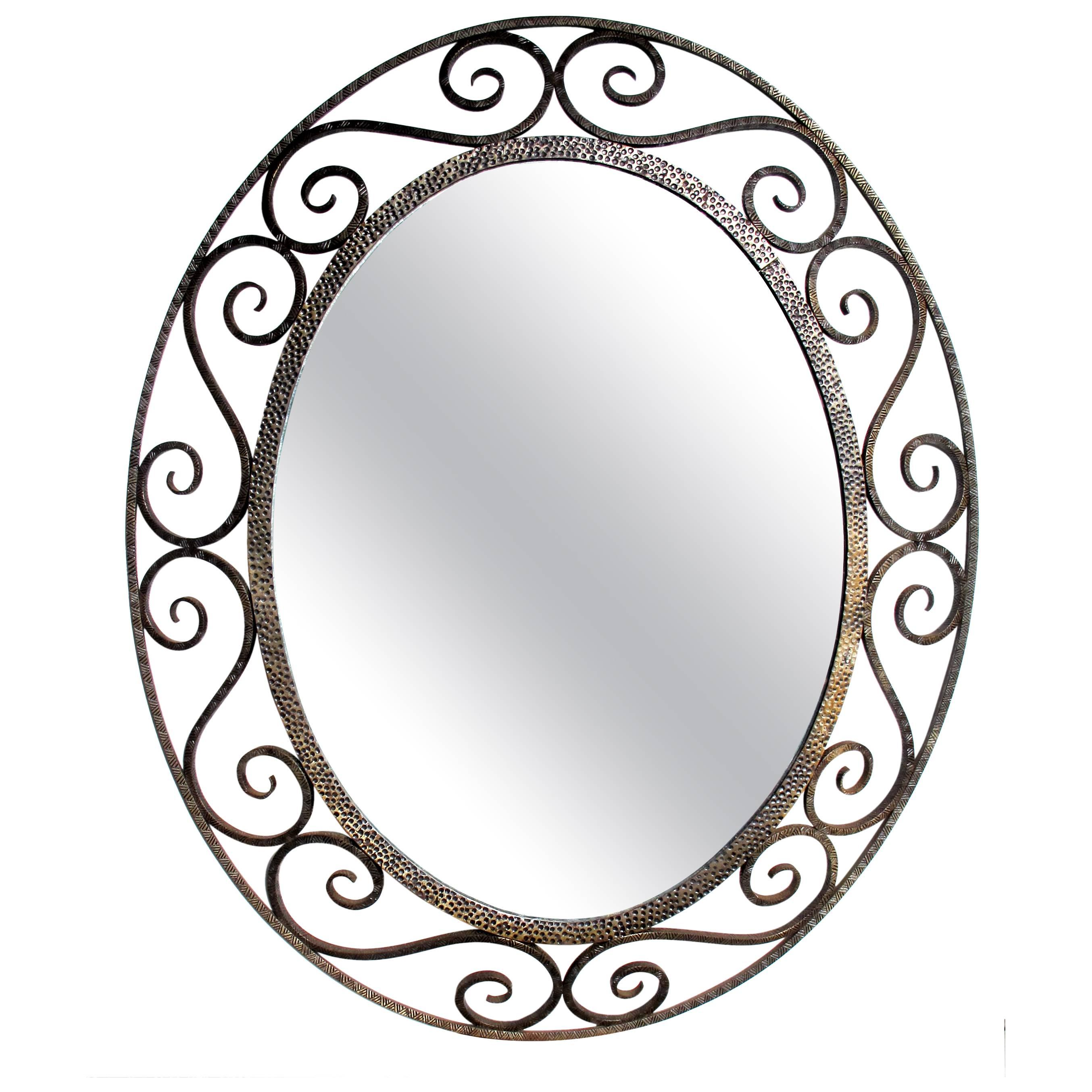 2708x2708 A French Art Deco Openwork Iron Oval Mirror In The Style Of Edgar