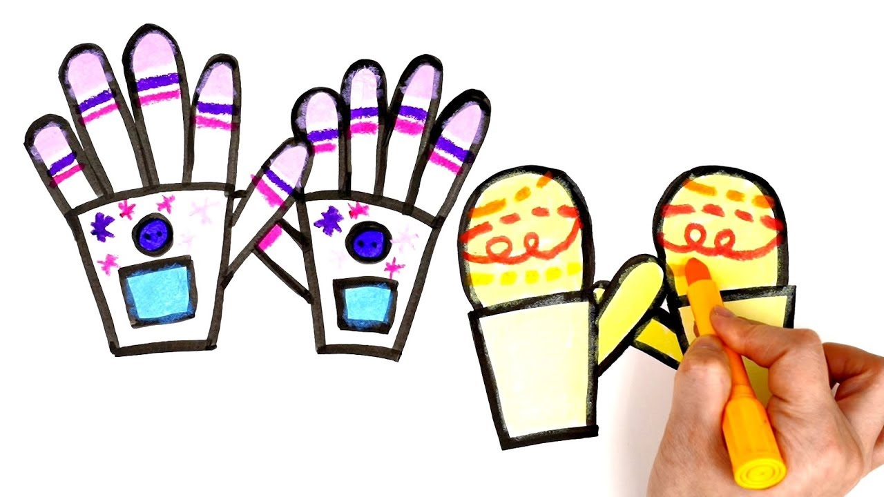 1280x720 mittens and gloves coloring how to draw mittens and gloves