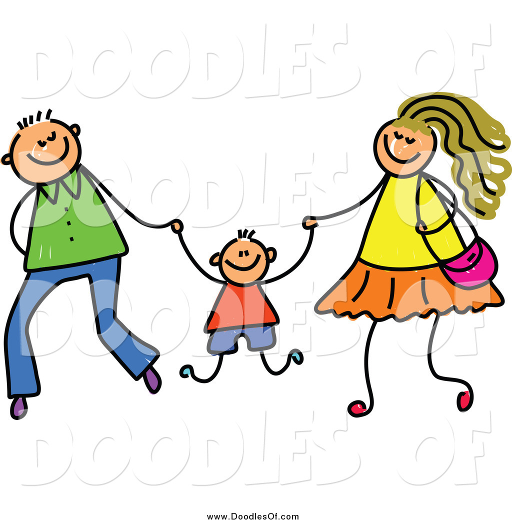1024x1044 Vector Clipart Of A Doodled Mom And Dad Swinging Their Son
