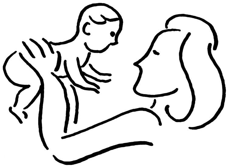 Mom Holding Baby Drawing
