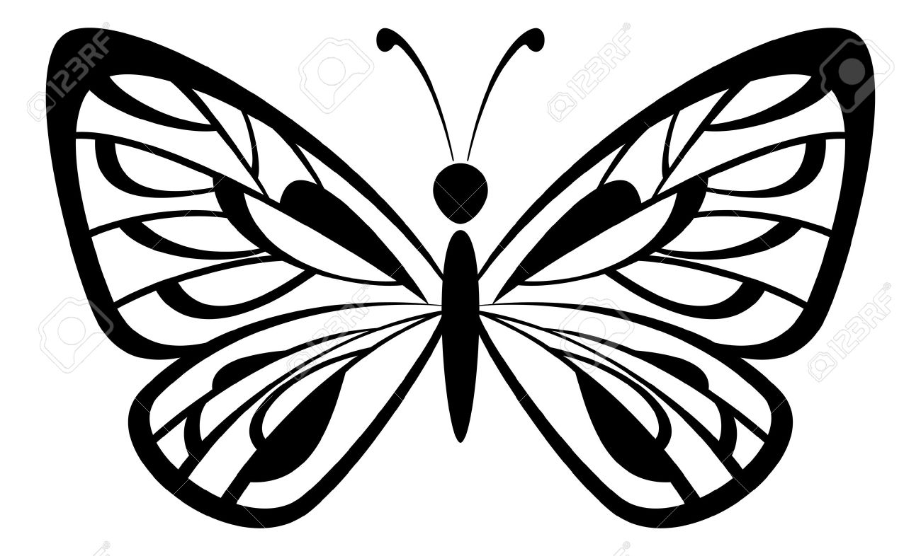 1300x786 Flying Monarch Butterfly Outline