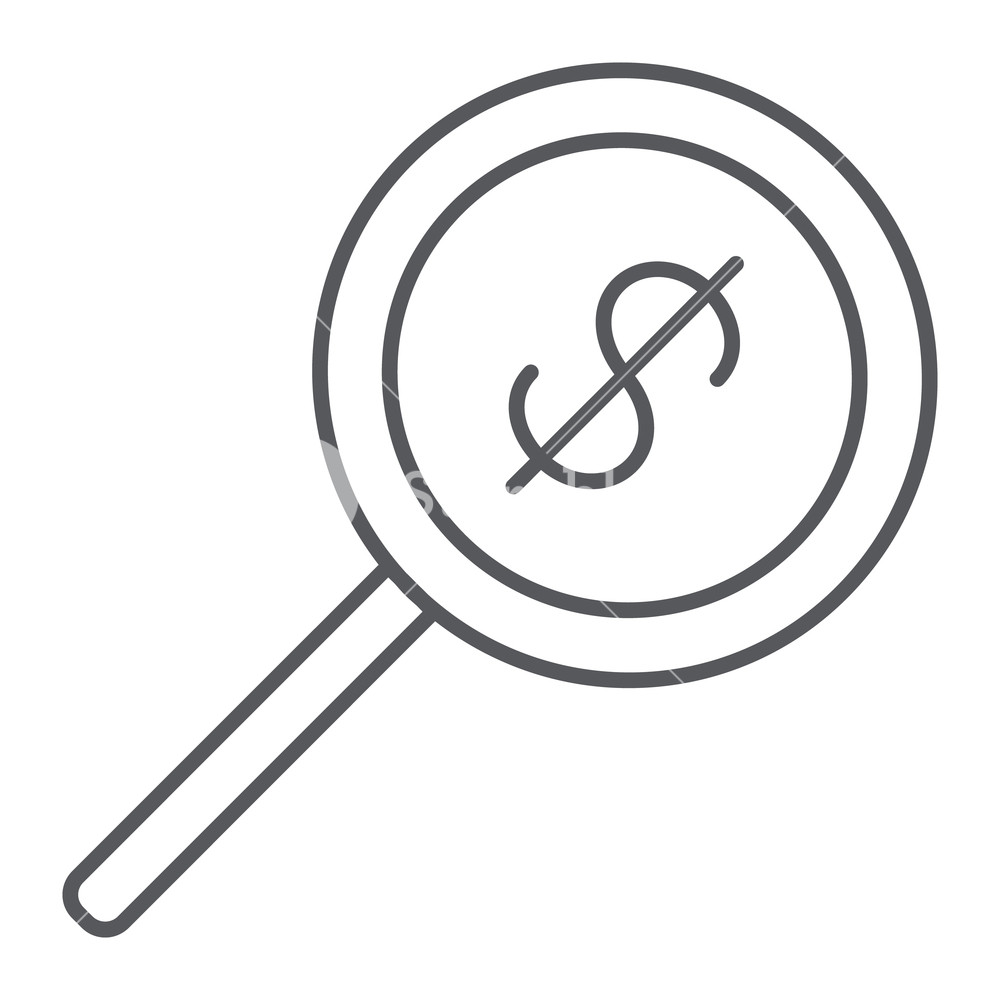 1000x1000 money search thin line icon, dollar and lens, magnifier sign
