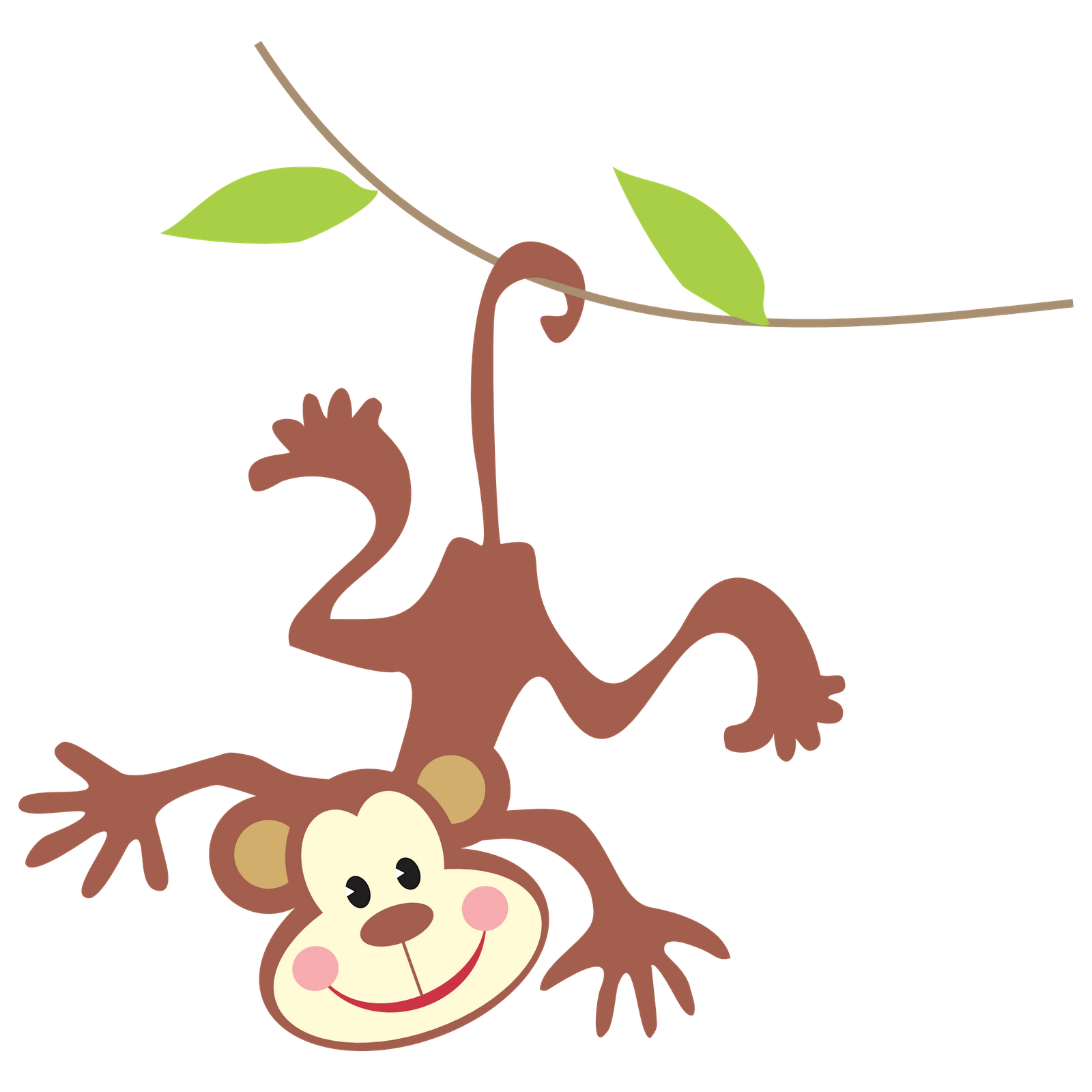 Monkey Hanging From Tree Drawing