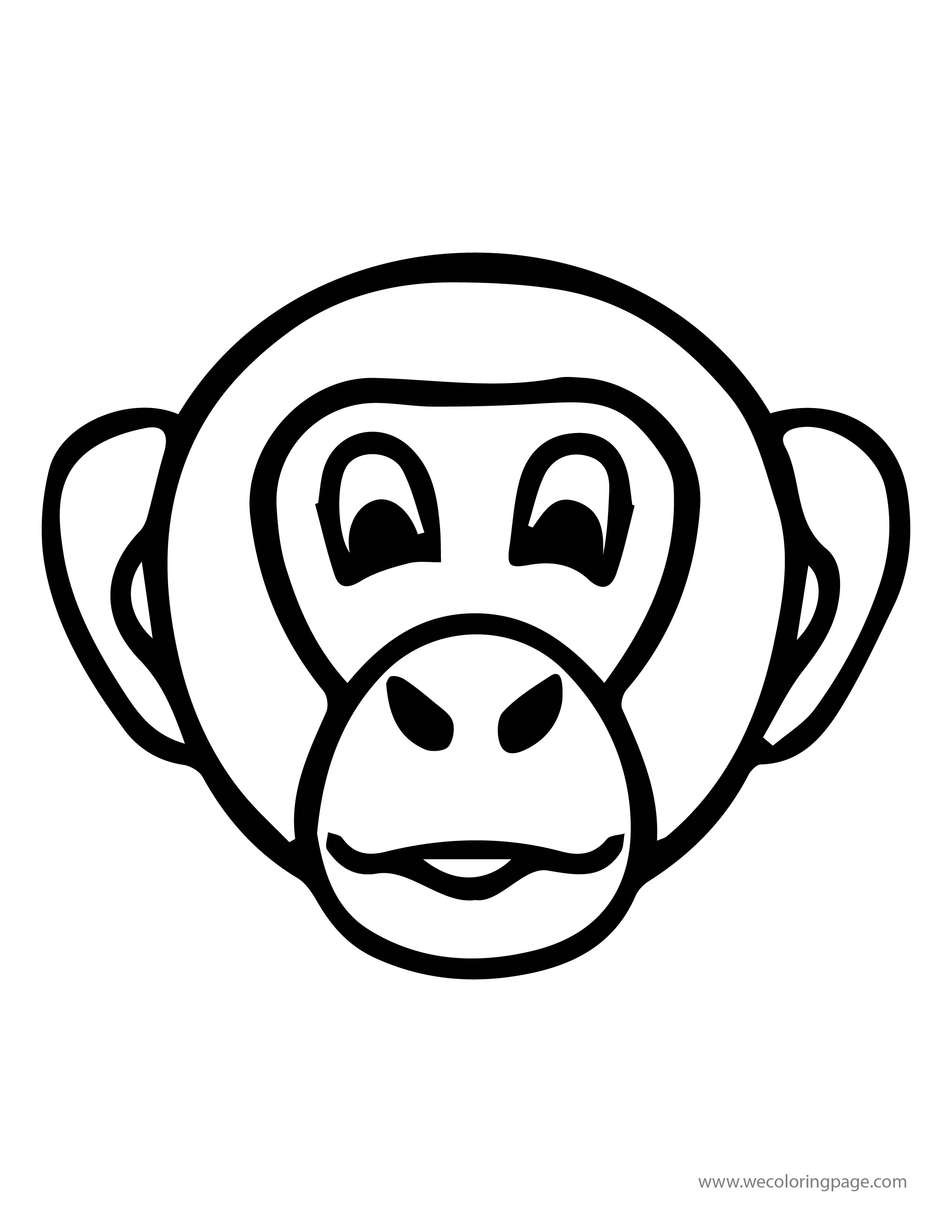 2550x3300 Monkey Head Face Coloring
