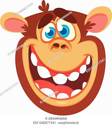 430x481 Monkey Face Cartoon Head Drawing Flat Stock Photos And Images