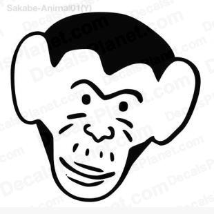 310x310 monkey head drawing decal, vinyl decal sticker, wall decal