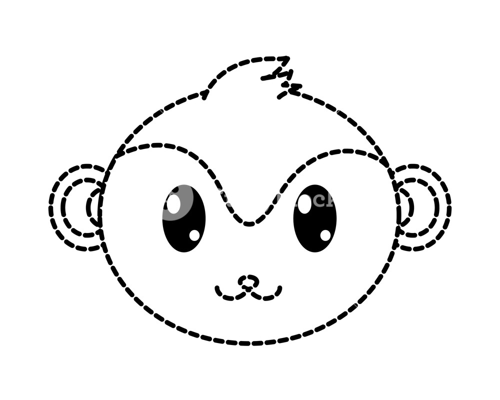 1000x800 Dotted Shape Monkey Head Cute Animal Character Vector Illustration
