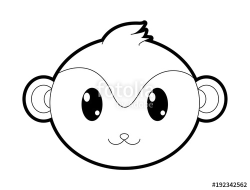 500x380 Outline Monkey Head Cute Animal Character Stock Image And Royalty