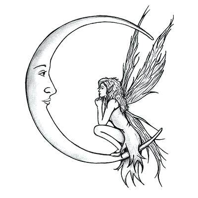 400x400 Fairy On Moon Drawing Silhouette Fairy With Half Moon Tattoo