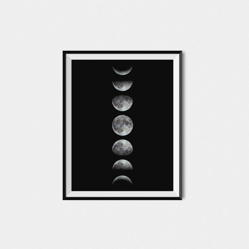 794x794 moon phase print moon phase wall art moon phases art etsy