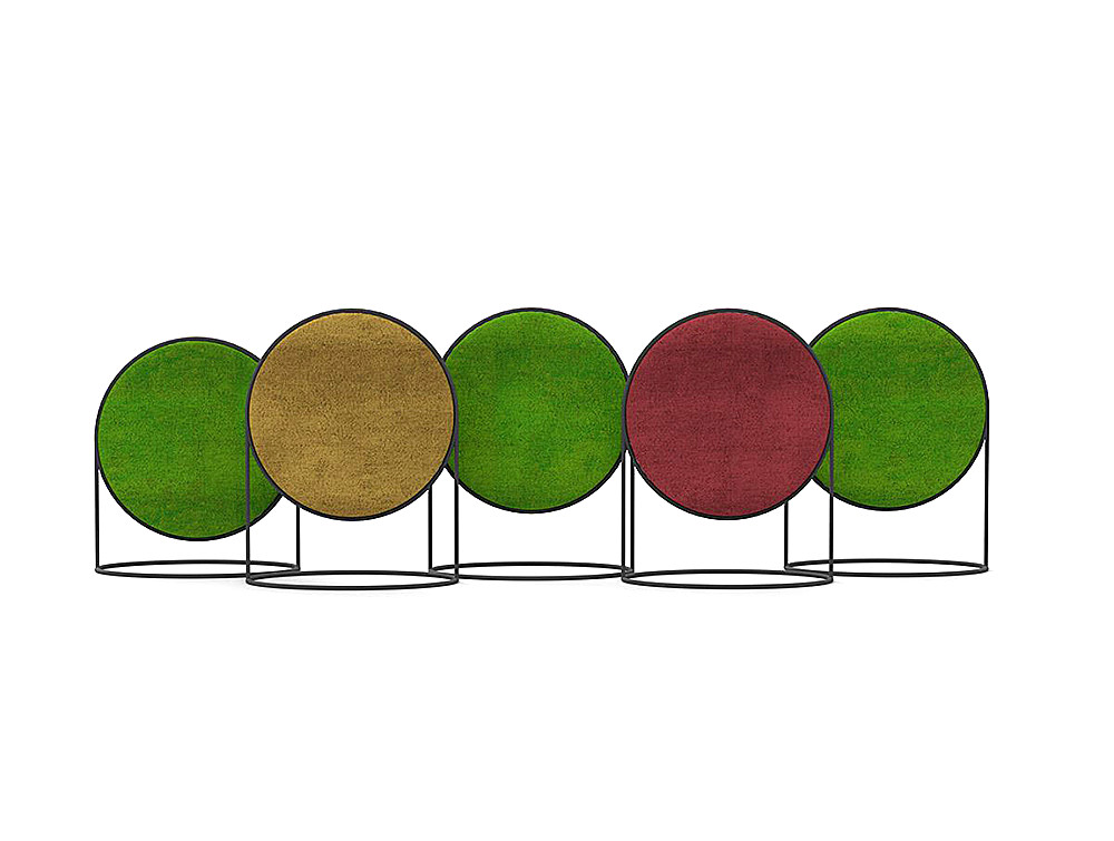 1000x755 Green Mood Moss Acoustic Circular Free Standing Screen