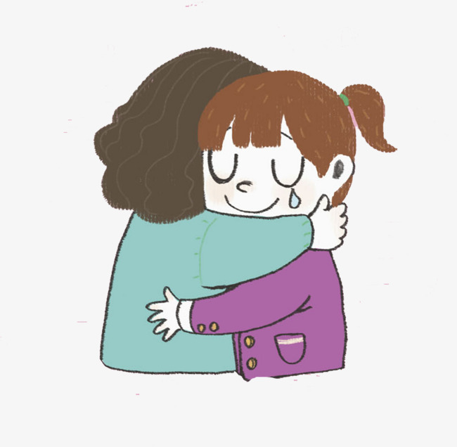 650x636 hugged mother and daughter, cartoon, hand, mother daughter hug png