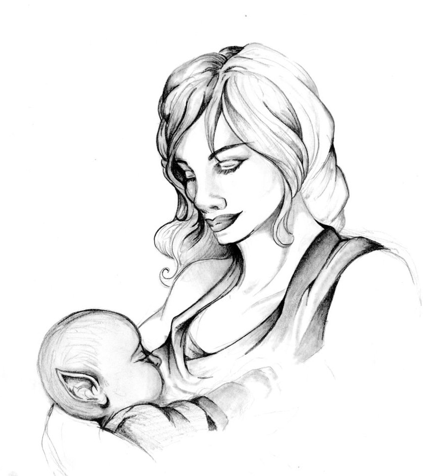 843x947 sketch of mother and daughter artistic sketching of mother