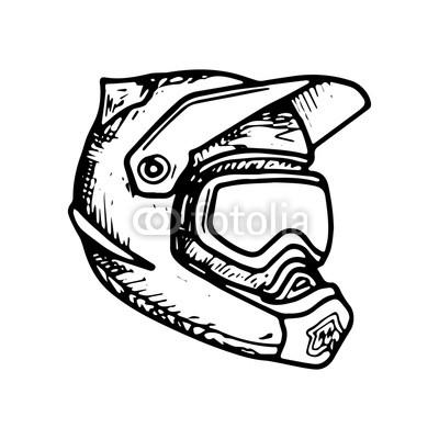 400x400 full face helmet motocross, downhill, mtb, hemet vector sketch