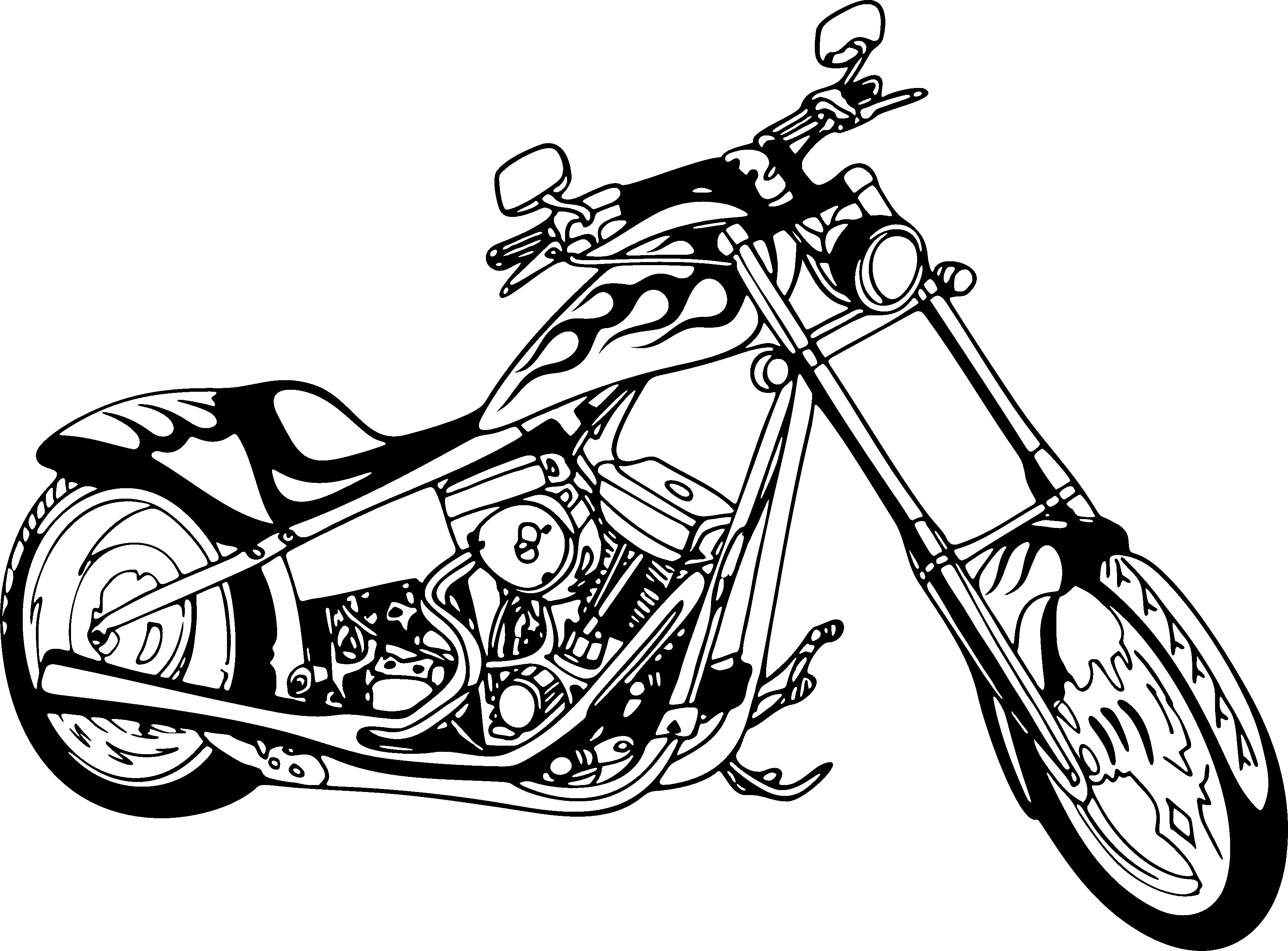 3337x2464 Drawing Motorcycle Front Transparent Png Clipart Free Download