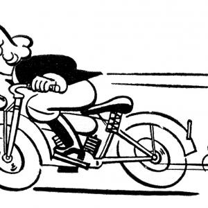 300x300 Stock Photo An Woman Riding Motorcycle Freehand Drawing Sketch