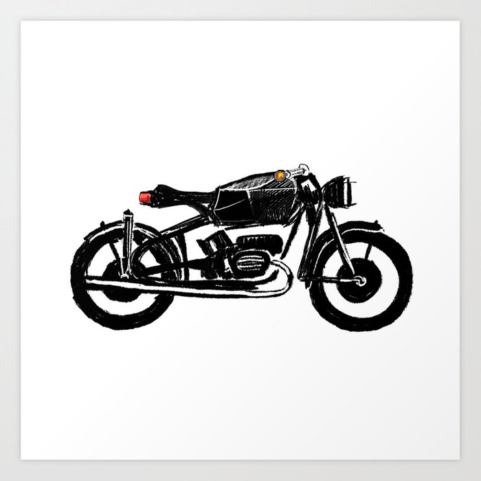 700x700 Untitled Motorcycle Drawing Art Print