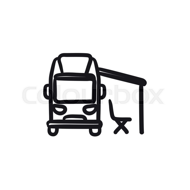 800x800 motorhome with tent vector sketch icon stock vector colourbox