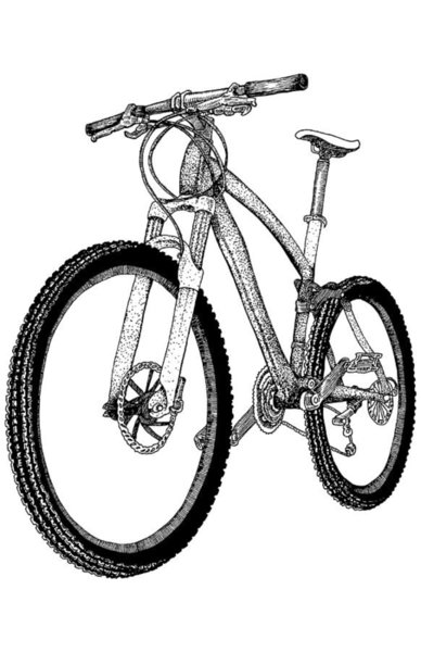388x600 Mountain Bike Drawing