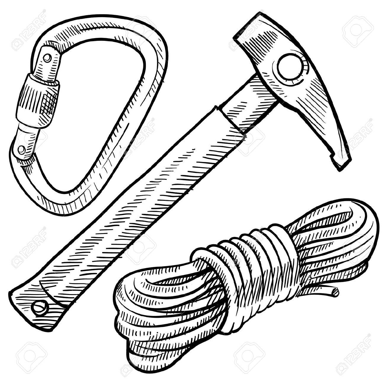 1300x1300 Doodle Style Mountain Climbing Gear Including Rope, Pick
