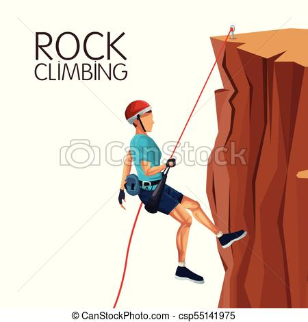 450x470 Scene Man Mountain Descent With Equipment Rock Climbing Vectors