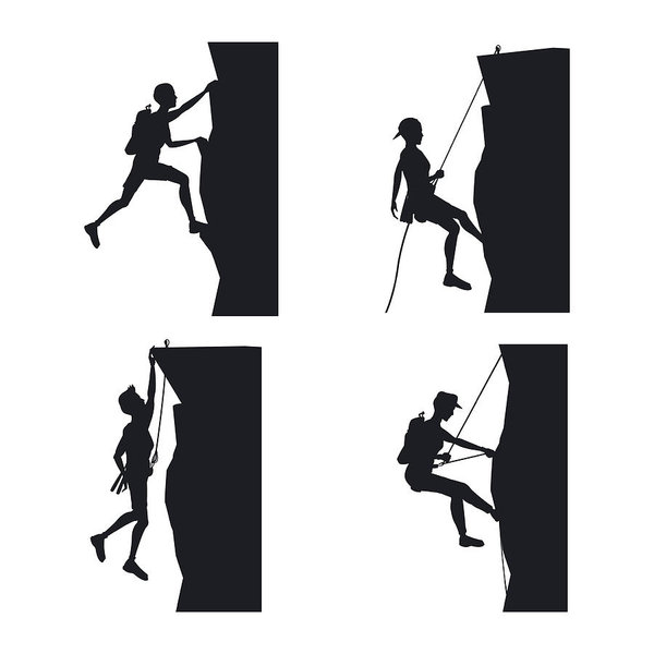 600x600 Set Black Silhouette Scene Men Climbing On A Rock Mountain Art