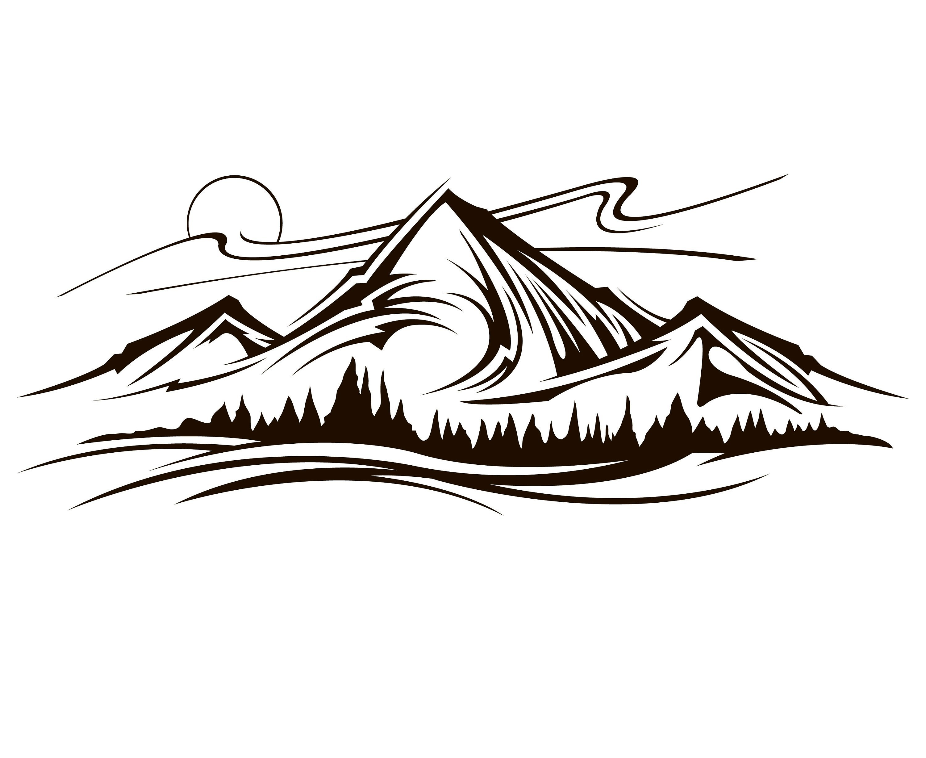 Mountain Drawing Outline