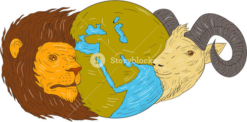 500x247 lion ram goat mountain goat globe map middle east world map