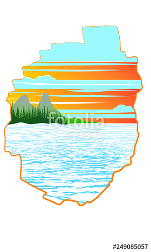 300x500 adirondack map with lake sunset treeline and mountains lake