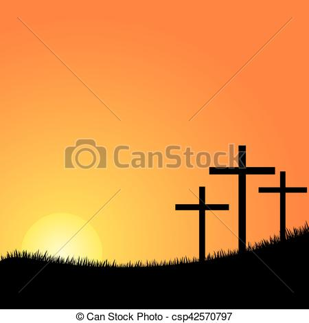 450x470 three crosses on a hill vector crosses silhouette in the top