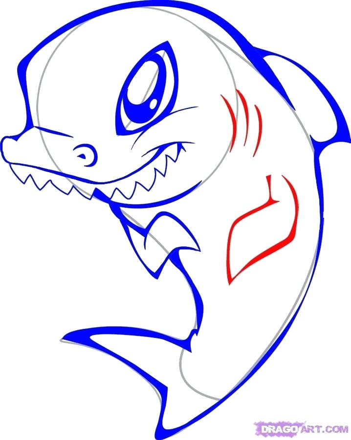 718x900 Easy Sharks To Draw How To Draw A Cute Shark Step Hammerhead