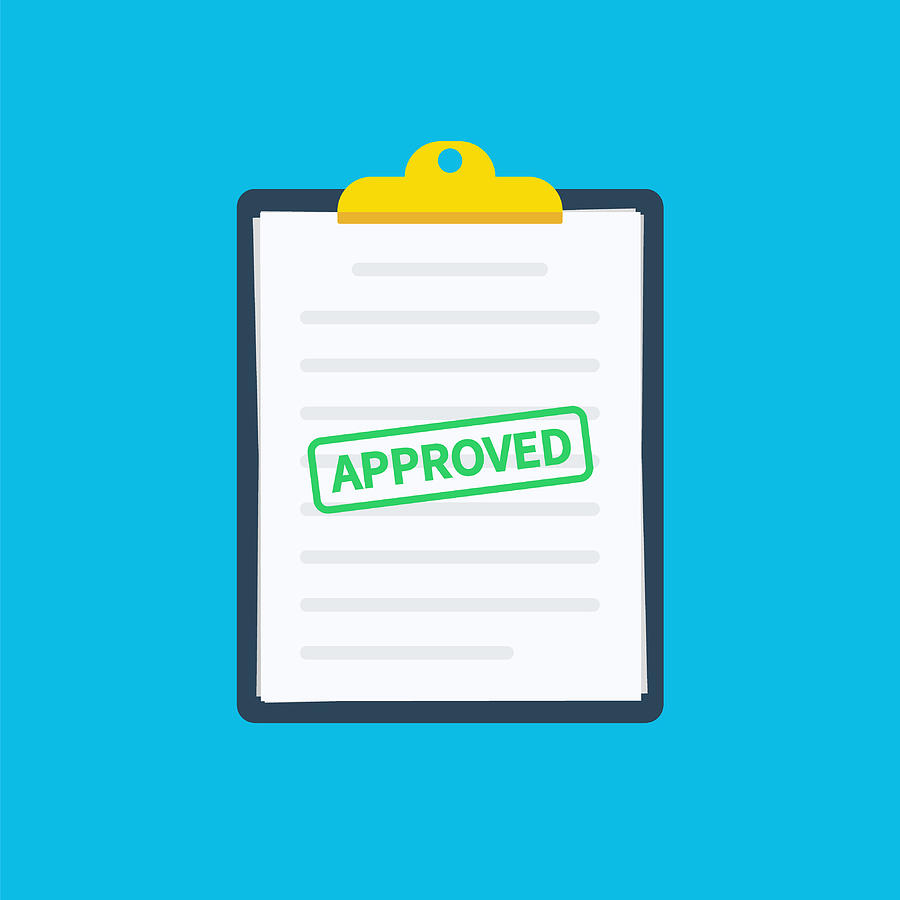 900x900 Approved Application Clipboard Application With Document, Green
