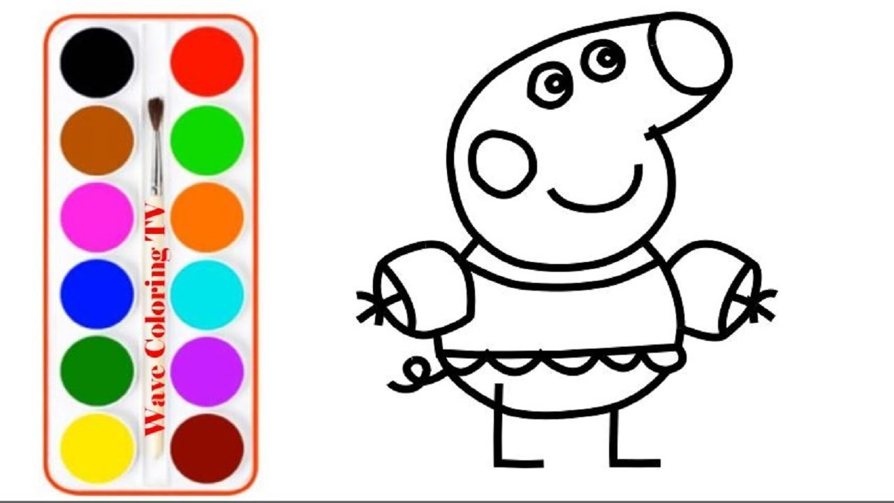 1280x720 Peppa Pig Muddy Puddles Drawing And Coloring For Kids Learn Colors