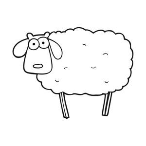 300x300 Freehand Drawn Black And White Cartoon Muddy Sheep Royalty Free